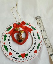 "GIFTCO Christmas is hope, joy, love Wood  Christmas Tree Ornament Wreath 4"" - $6.66"