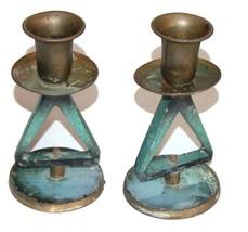 Vintage Shabbat Candlestick Candle Holders Signed Dayagi Judaica Israel 1960's