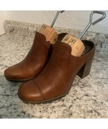 TIMBERLAND Swazey Womens 8M Brown Leather Clogs Mules Heels Worn1x - $49.45