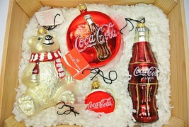 Kurt Adler Polonaise Ornament Coca Cola (Set of 4) Bear, Coke Bottle+bot... - $79.99