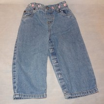 Blue Jeans Denim Flowers Toddler Size 24 Months 2T Carters 27 to 30 Pounds - $9.99