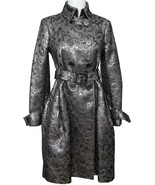 BURBERRY Metallic Silver Coat Trench Brocade Double Breasted Belt Brit Sz 4 - $2,463.83