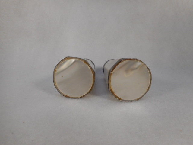Antique Pair Mother of Pearl Salt and Pepper Shakers with Silver Plate Bands