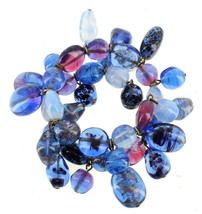 ANTIQUE DECO VENETIAN MURANO BLUE ART GLASS BEADS DANGLE COIL BRACELET N... - $251.99