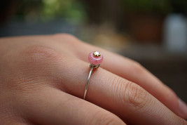 Genuine Donut Rhodochrosite Handmade Sterling Silver Ring Pink Gift for Her US 7 - $34.00