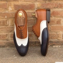 Handmade bespoke leather shoes for men Two tone leather shoes custom made shoes - $159.99 - $189.99