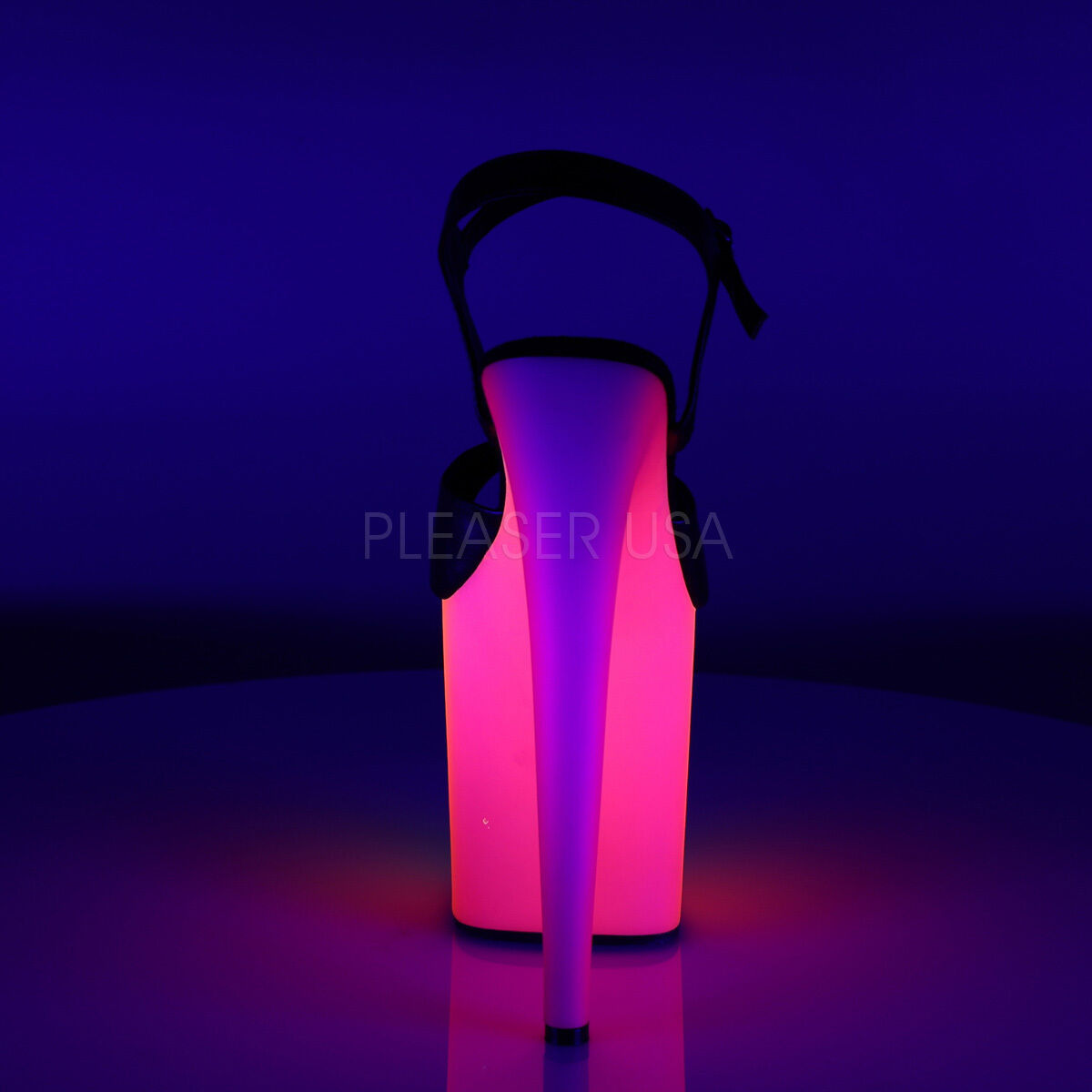 """PLEASER Sexy Blacklight Neon Rainbow Platform 8"""" High Heel Stripper Dancer Shoes"""