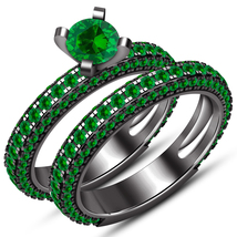 14k Black Gold Plated 925 Silver Round Green Sapphire Bridal Engagement ... - $129.99