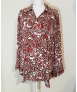 Chico's Womens Long Pleat Back Floral Paisley Long Sleeve Button Down Sh... - $39.59