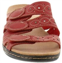 Clarks Bendables Leisa Cacti Leather Triple Strap Slides Red 8 NEW A251816 - $71.26