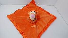 Disney Tigger plush jingle rattle Baby security Blanket lovey satin trim knit  - $9.89