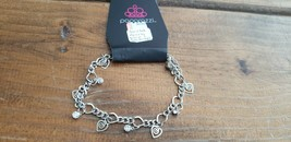 Paparazzi Bracelet (New) #482 Swirled Hearts Silver & White - $7.61