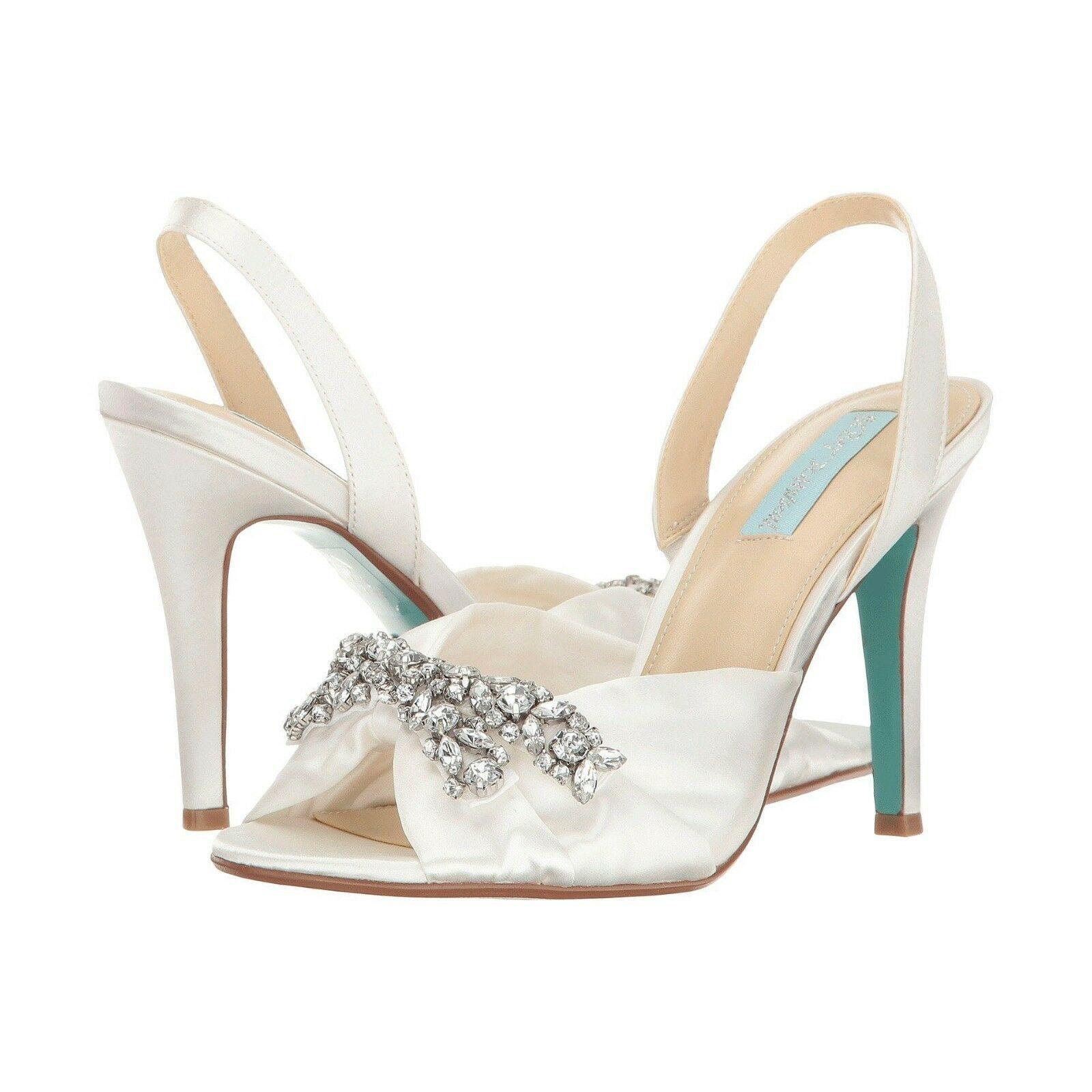 Betsey Johnson Briel Ivory Satin Crystal Wedding Heel Pumps Sandals 7.5 - $83.66