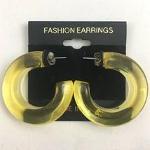 Vintage Plastic Hoop Earrings Yellow Funky Pierced NOS 80s 90s - $14.80