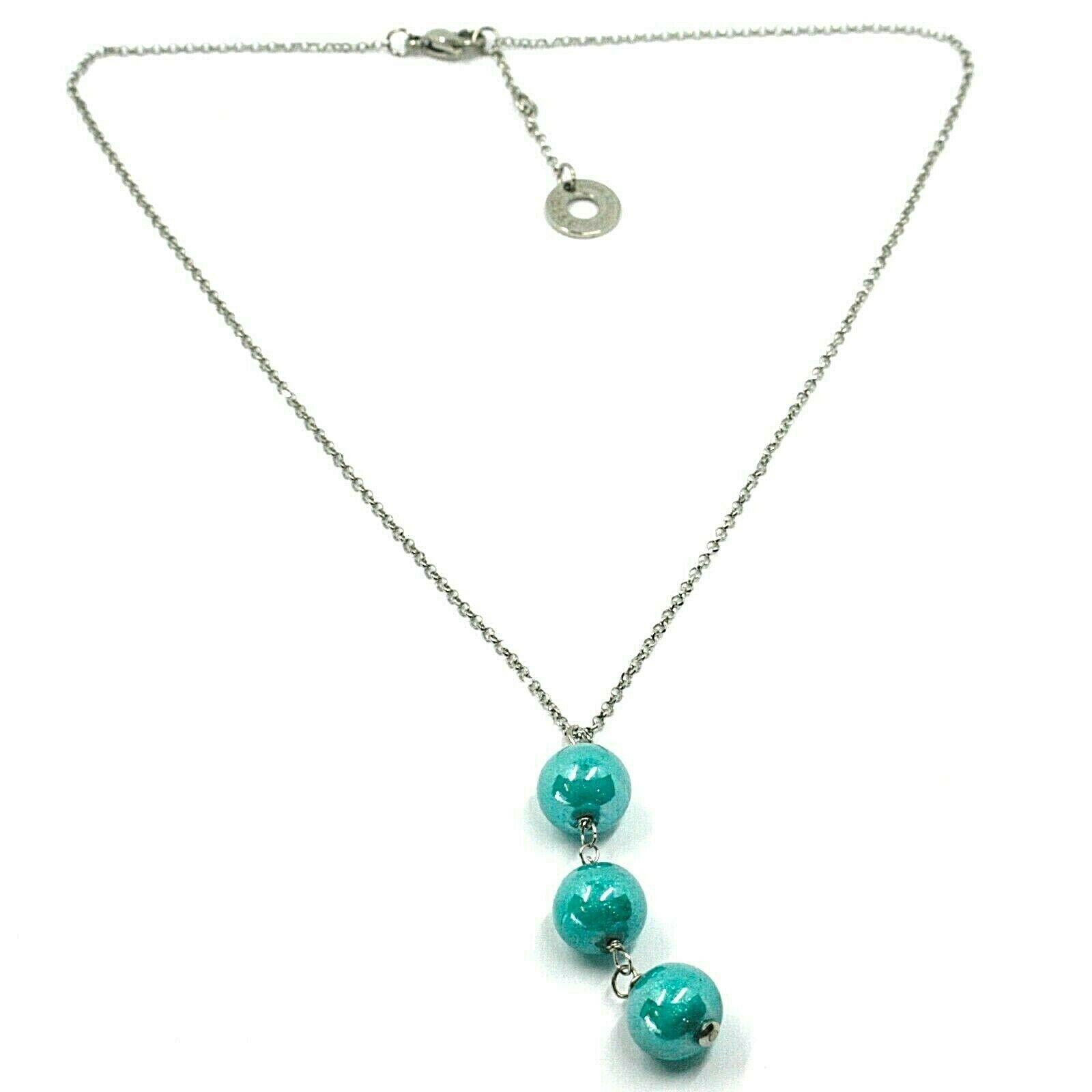 Necklace Antica Murrina Venezia, COA02A06, Spheres Blue Hanging, Chain Rolo '