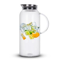 68 Ounces Glass Pitcher with Lid, Hot/Cold Water Carafe, Juice Jar and I... - $24.88