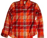 Lucky Brand Plaid Button Front Shirt Size Medium Red Orange Fall Colors Women's