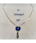 "Coblat Blue Marbled Heart Necklace 20"" - $9.99"