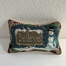 Christmas Holiday Snowman Believe Throw Pillow Tapestry Style Blue Red G... - $18.81