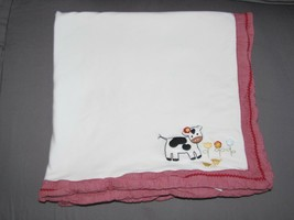 Gymboree 2003 Girl Home on the Range Red White Stripe Cow Baby Blanket C... - $98.99