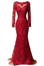 Red Long Mermaid Evening Dresses Lace Prom Party Dresses 2018 Gown Long Sleeves - $142.00