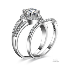 1 ct Round Cut Halo Split 925 Sterling Silver Cubic Zirconia Engagement Ring Set - $51.92