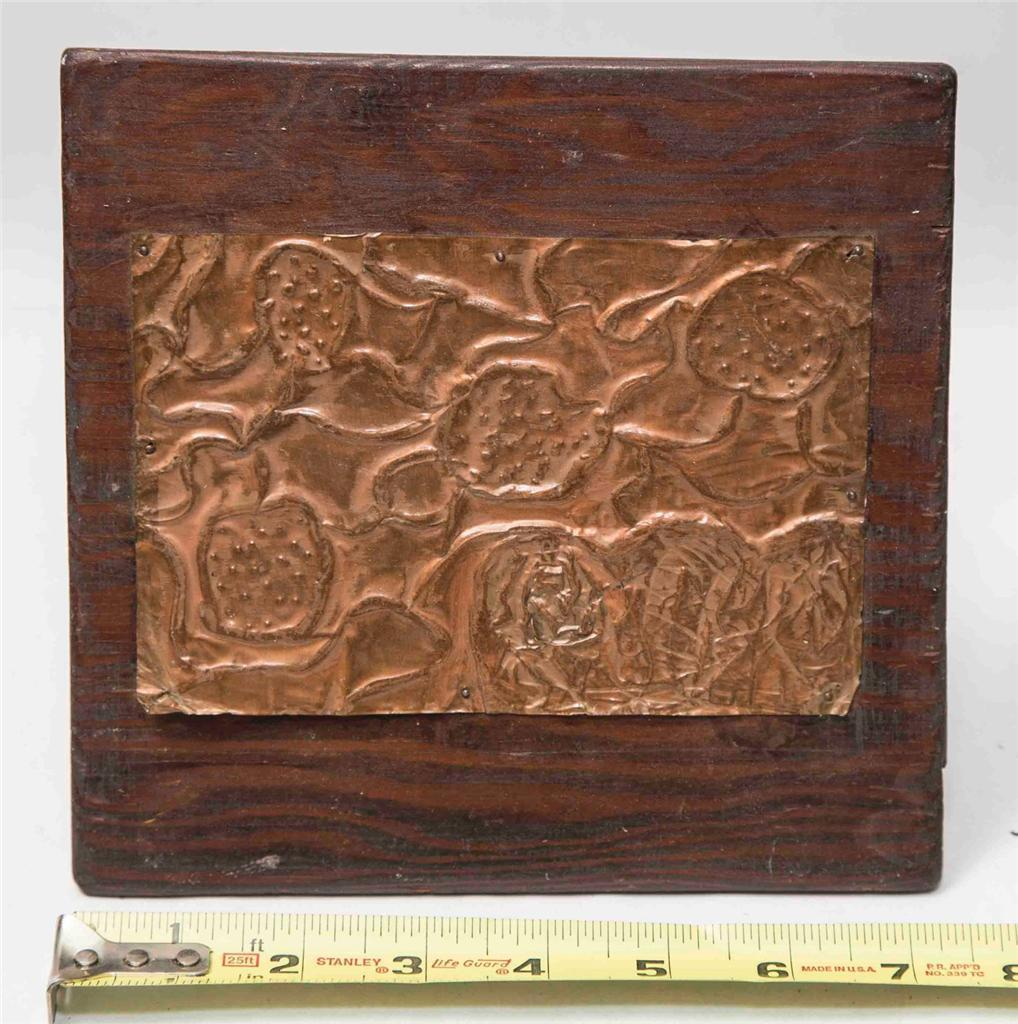 Vintage Pressed Copper & Wood Wall Hanging