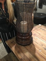 "Farmhouse Xxl 26"" Aged Finish Candle Holder Woven Metal Globe Hurricane Top - $261.80"