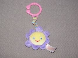 Bright Starts Sun Flower Baby Squeak Toy Clip On Ring Link Stuffed Plush - $16.82