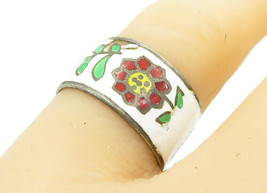 SIAM 925 Sterling Silver - Vintage Antique Enamel Flowers Band Ring Sz 7... - $26.84