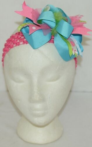 Unbranded Girl Infant Toddler Headband Removable Hair Bow Hot Pink Blue