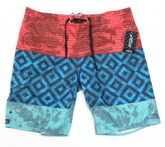 Astars Topper Red Blue & Green Boardshorts Swim Trunks Mens NWT - $37.49