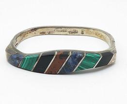 MEXICO 925 Silver - Vintage Multi-Gemstone Inlay Bangle Bracelet - B5619 - $172.68