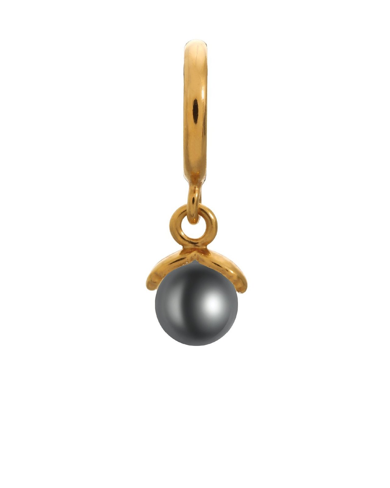 Endless Jewelry Sterling Silver Gold Plated Black Apple Simulated Pearl Dangle C