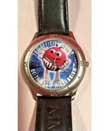 M&M Wrist Watch Black Leather Wristband 1998 Limited Edition Unisex - $22.30
