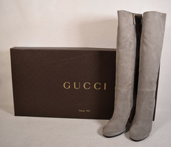 Gucci Womens Dusty Gray Suede Knee High Boots Black 36 Italy - $495.00