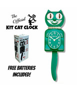"GREEN BEAUTY LADY KIT CAT CLOCK 15.5"" Free Battery MADE IN THE USA Kit-C... - $69.99"