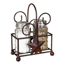 Antiqued Star Salt and Pepper Shaker Caddy with... - $16.95