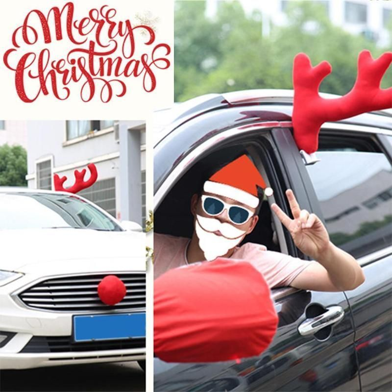3pcs Set Christmas Reindeer Antlers Car Costume Car Truck Costume Decor Antler