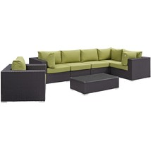 Convene 7 Piece Outdoor Patio Sectional Set Espresso Peridot EEI-2157-EX... - $2,381.75