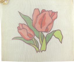 1970's Hand Painted Needlepoint Orange Tulip in Full Bloom - $33.30