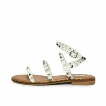 Steve Madden Travel White Women's Ankle Strap Stud Flat Sandals - $73.00