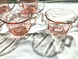 Pink Octagon Depression Glass Creamer + Sugar 6 Cups + 7 Saucers - $23.99
