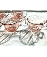 Pink Octagon Depression Glass Creamer + Sugar 6 Cups + 7 Saucers - $20.99