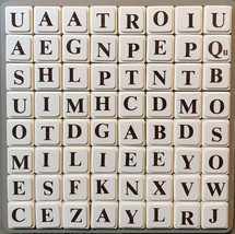 UpWords Board Game 1988 Replacement Parts Pieces 64 PLASTIC LETTER TILES... - $5.20