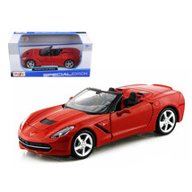 2014 Chevrolet Corvette C7 Convertible Metallic Red 1/24 Diecast Model C... - $28.93