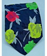 BRIONI Floral Silk Tie Fluorescent Pink Yellow Green Roses Necktie 59″ I... - $92.80 CAD