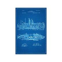 "Submarine Locomotive Patent - Blueprint Style - Art Print - 18"" tall x 12"" wide - $16.00"