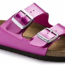 Birkenstock Women Arizona Electric Metallic Magenta Pink Fashion Sandals 1012968 - $129.99