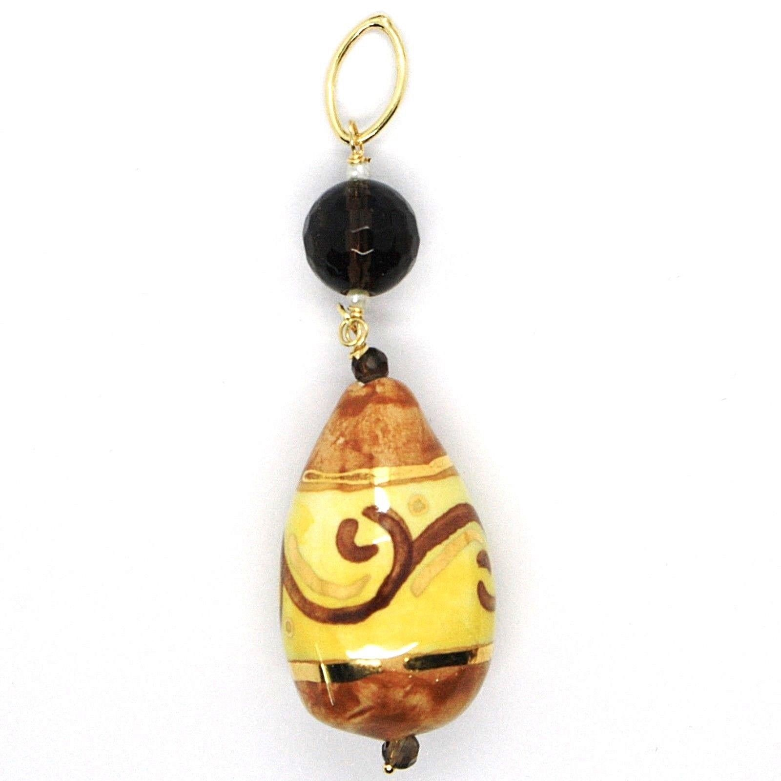 18K YELLOW GOLD PENDANT, SMOKY QUARTZ POTTERY CERAMIC DROP HAND PAINTED IN ITALY